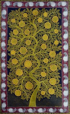 "Kalpvriksha (The tree of life)   Madhubani Painting by Amrita Jha. 59"" x 36"", acrylic on paper."