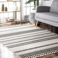The Curated Nomad Louisburg Contemporary Striped Outdoor Tassel Area Rug x Beige Diy Carpet, Beige Carpet, Carpet Decor, Beige Color Palette, Area Rugs For Sale, Cheap Carpet Runners, Polypropylene Rugs, Rectangular Rugs, Rugs Usa