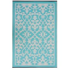 """Paseo 4x6 Indoor/Outdoor Rug TURQUOISE ($60) found on Polyvore and her blog """"color transformed""""  love this for my kitchen... It would go fantastic right in the middle of the floor... and then something yellow to compliment it in the dining area.... as my kitchen is predominantly turquoise, red, yellow and little trims of black.  :)"""