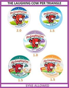 The laughing cow syns Slimming World Syns List, Slimming World Cake, Slimming World Syn Values, Slimming World Treats, Slimming World Recipes Syn Free, Slimming World Plan, Syn Free Food, Syn Free Snacks, Slimming Word