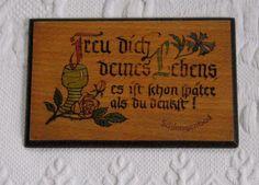 German Wood Burn Plaque German Language by vintagous on Etsy