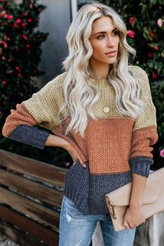 Gray Color Block Netted Texture Pullover Sweater Brown Yellow The color block design is stylish to create a visual shock Casual Sweaters, Winter Sweaters, Cozy Sweaters, Pullover Sweaters, Women's Cardigans, Color Block Sweater, Pyjamas, Pulls, Long Sleeve Tops