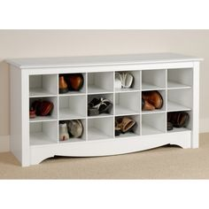 Prepac Winslow White Shoe Storage Cubbie Bench