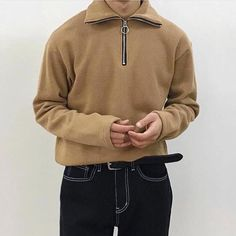 Mens Fashion 30 Years Old Men's Fashion, Indie Fashion, Unisex Fashion, Streetwear Fashion, Basic Outfits, Dope Outfits, Swag, Stylish Boys, Half Zip Sweaters