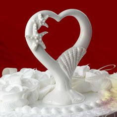 Starfish & Seashells Ceramic Heart Wedding Cake Toppers