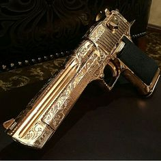 24k Gold Desert Eagle 50ae Cal. with Paisley engraving