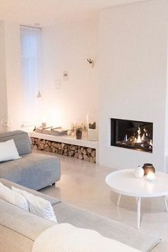 Living Room Scandinavian Fireplace - 42 Lovely Scandinavian Fireplace To Rock This Year. Scandinavian Fireplace, Scandinavian Living, Scandinavian Interiors, Home Living Room, Living Room Designs, Living Room Decor, Living Area, Fireplace Design, Fireplace Shelves