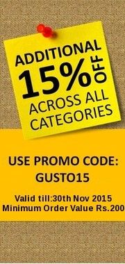 Additional 15% Off Across all Categories on Min Order Value of Rs.200 at Gustobee. Offer Valid till Stocks Last.