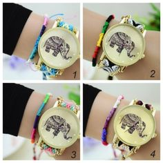National Style Weave Bracelets Table DIY Elephant Watch