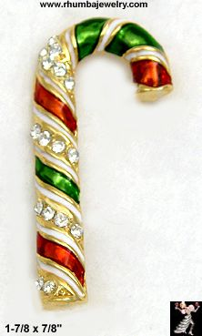Christmas Pin: Candy Cane Rhinestone Christmas Pin,CandyCane - Antique & Collectible Exchange