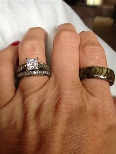 Cool Our new camo wedding rings Amanda Maddox love this size of the diamond