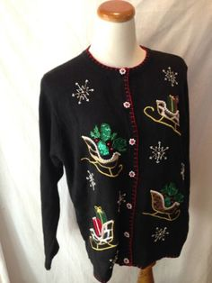 BP DESIGNS black animal print Santa Sleighs UGLY XMAS SWEATER cardigan Large L