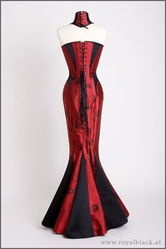 "Royal Black's Corset Gown ""The Lady Is A Vamp"" Couture corset gown with matching neck corset, made from red Chinese brocade and heavy black satin. Sexy Dresses, Dress Outfits, Fashion Outfits, Hobble Skirt, Black Corset, Black Satin, Lace Tights, Fantasy Dress, Mermaid Dresses"