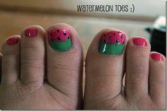 Adorable watermelon pedicure