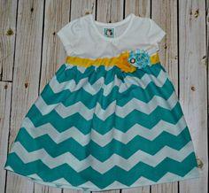 CUSTOM T-Shirt Dress - Tank Dress - Girl dresses - Toddler Clothing - Chevron Dress - chiffon flower clip on Etsy, $25.00