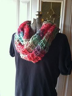 This pattern is a faux Broomstick Lace scarf. It is made by using a very large hook and a thinner yarn