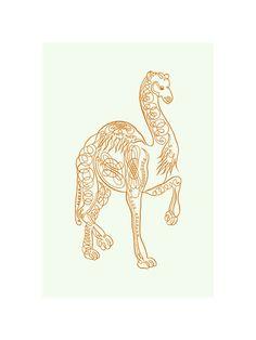 9 x 12 Calligraphic Camel Art Print  Dark Orange by RadioRoadPress, $16.00