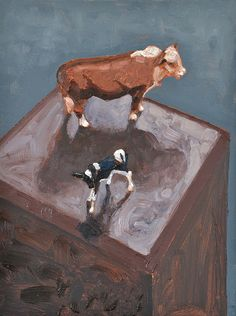'Lonely cows'. Still life, oil painting on canvas. 2017.