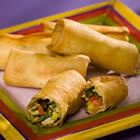 Southwestern chicken egg rolls.  Bake at 425 for about 10 minutes instead of deep frying.  YUM.