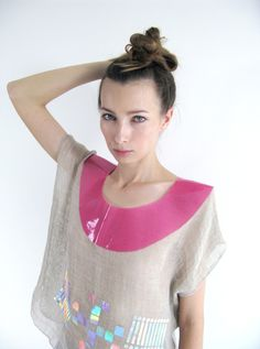 Hologram Linen Top with translucent collar
