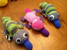 Sewing Stuffed Animals More adorable no-sew sock animals! Sock Crafts, Cute Crafts, Crafts For Kids, Crafts With Socks, Sewing Toys, Sewing Crafts, Sewing Projects, Fabric Crafts, Animal Projects