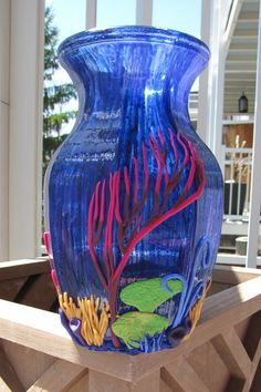 Blue nautical polymer and glass colorful vase  by FrozenFairytale, $45.00 @Sandra Carpenter