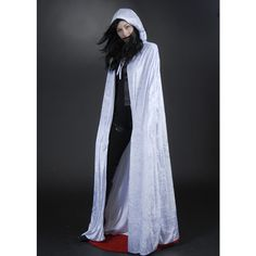 Gothic Long White Velvet Hooded Cape ($35) ❤ liked on Polyvore featuring costumes, adult halloween costumes, goth costume, adult ghost costume, neck-tie and tie neck tie