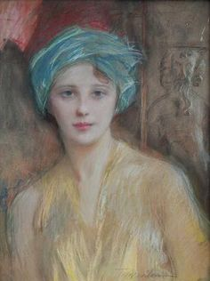 Portrait of a Woman in a Turban by Teodor Axentowicz (1859-1938) - (salantami)