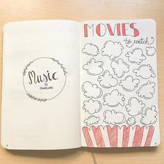 So yesterday night I decided to do this original idea I saw in pinterest to remember all the films I need to see! I put it next to my music page that I still have to decorate a bit. Do you like it?? I like popcorns so Im in love with the result ♥️ #bujo #bulletjournaling #bulletjournal #movies #moviestowatch #bujolover #inspiration #organization #planning #ideas #creativity #lettering #music #bulletjournaladdict #bulletjournalcollection #bulletjournalideas