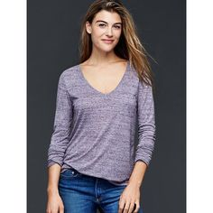 Gap Women Long Sleeve Pocket Tee ($12) ❤ liked on Polyvore featuring tops, t-shirts, midnight fog, regular, purple v neck t shirt, pocket tees, long sleeve jersey tee, long sleeve pocket tee and v neck tee