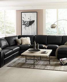 26 Ideas for black living room furniture Black Leather Sofa Living Room, Black Sofa Living Room Decor, Leather Living Room Furniture, Living Room Sectional, Sofa Furniture, Living Room Sofa, Wooden Furniture, Antique Furniture, Outdoor Furniture