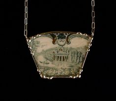 Scenic teal English transferware. Broken china jewelry necklace by Dishfunctional Designs