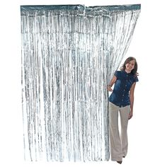 Metallic Silver Fringe Curtain - OrientalTrading.com $6.50 Back drop for photobooth
