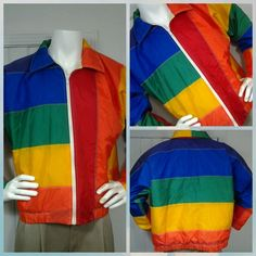"Vintage Rare Limited Edition LTD ""THE FLAG"" Rainbow San Francisco Jacket USA M in Clothing, Shoes & Accessories, Vintage, Men's Vintage Clothing 
