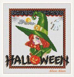 Cross Stitch Pattern Halloween Portrait witch par HallStitch