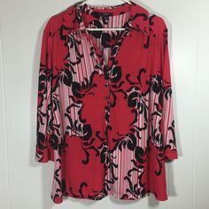 Alfani Woman 2X Black Red Print V Neck Henley Poly Stretch Blouse Top 3/4 Sleeve