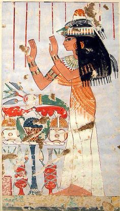 Menna's Daughter Offering to her Parents, Tomb of Menna. Ca. 1400-1352 B.C. New Kingdom. Dynasty 18. Reing of Thutmose IV-Amenothep III. Thebes.