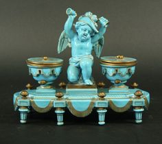 19th Century Turquoise porcelain Sevres style inkwell.