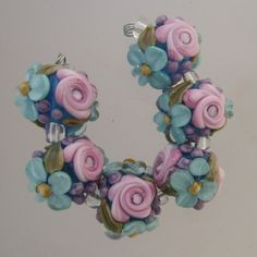 Aqua Magic Rose Floral Abundance Lampwork Bead Set   Blissful Garden Beads
