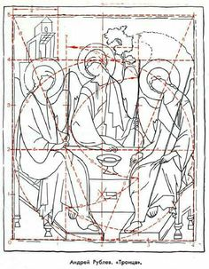 Sketch of the icon of the Holy Trinity by Andrei Rublev. Christian Drawings, Christian Art, Byzantine Icons, Byzantine Art, How To Draw Sacred Geometry, Paint Icon, Symbolic Representation, Art Poses, Religious Icons