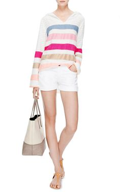 Striped V-Neck Gola Hoodie by Lemlem - Moda Operandi