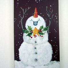 Joyful snowman handpainted Christmas art wall door holidayhijinks