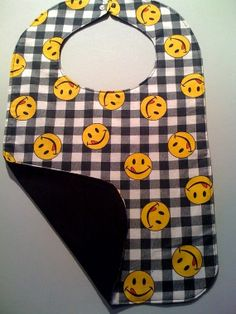 Happy Face Checkered Flannel Adult Bib by StarBoundWestern on Etsy, Senior Large $16.00