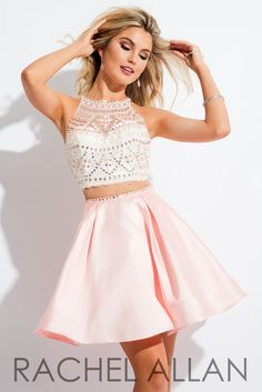Rachel Allan 4156 White/Blush Homecoming Dress