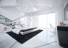 Futuristic Bedroom New Design Bedroom Interior Design Bedroom Interiors White Bedroom Design, White Bedroom Decor, Luxury Bedroom Design, Modern Master Bedroom, White Interior Design, Contemporary Bedroom, Bedroom Designs, Bedroom Ideas, Modern Bedrooms
