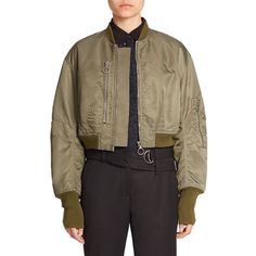 3.1 Phillip Lim Cropped Bomber Jacket (€680) ❤ liked on Polyvore featuring outerwear, jackets, apparel & accessories, long sleeve jacket, cropped jacket, flight jacket, brown bomber jacket and oversized jacket