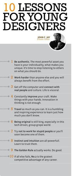 Business infographic John Jays 10 lessons for young designers More Than Branding Graphisches Design, Design Basics, Graphic Design Tips, Tool Design, Graphic Design Inspiration, Design Process, Design Ideas, Design Thinking, Ideas De Merchandising