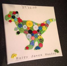 Personalised Dinosaur Canvas Button Picture. 8 x 8 . Handmade&Unique