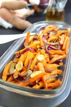 Édesburgonya hagymával sütve - Kifőztük, online gasztromagazin Healthy Recipes, Healthy Meals, Carrots, Vegan, Vegetables, Cooking, Food, Diet, Sitting Rooms