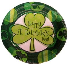 """Custom & Unique {9"""" Inch} 8 Count Multi-Pack Set of Medium Size Round Circle Disposable Paper Plates w/ Irish 3 Three Leaf Clover Happy St. Patrick's Day Celebration Party """"Green & White Colored"""""""